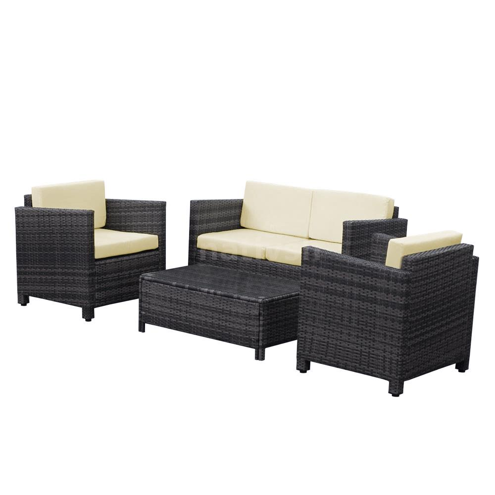 4x outdoor patio furniture wicker rattan deck sofa set pool couch daybed r8q2 ebay. Black Bedroom Furniture Sets. Home Design Ideas
